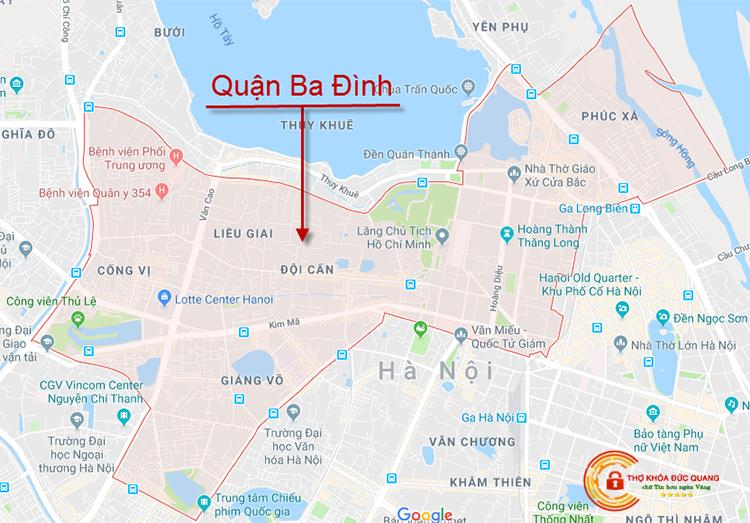 Các khu vực tại Ba Đình mà thợ khóa Đức Quang nhận hỗ trợ 24/24