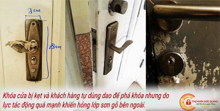 Khách hàng tự sửa khóa cửa khiến hỏng lớp sơn gỗ bên ngoài