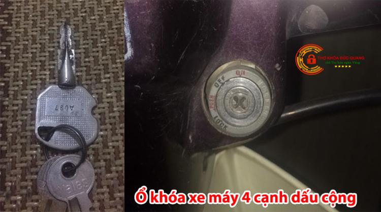 Ổ khóa xe máy chìa khóa có 4 cạnh hình dấu cộng