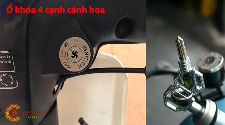 Ổ khóa xe máy có 4 cạnh xoắn hoặc hình cánh hoa