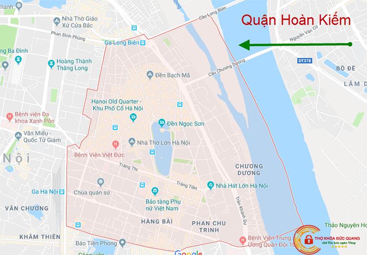 Các khu vực tại quận Hoàn Kiếm mà thợ khóa Đức Quang nhận hỗ trợ 24/24