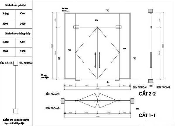 Bản vẽ lắp đặt cửa kính cường lực chi tiết