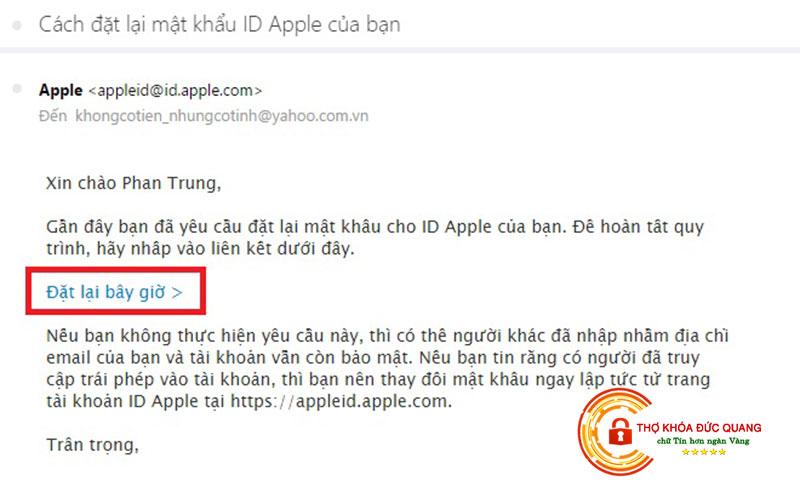 Mở khóa iCloud bằng email